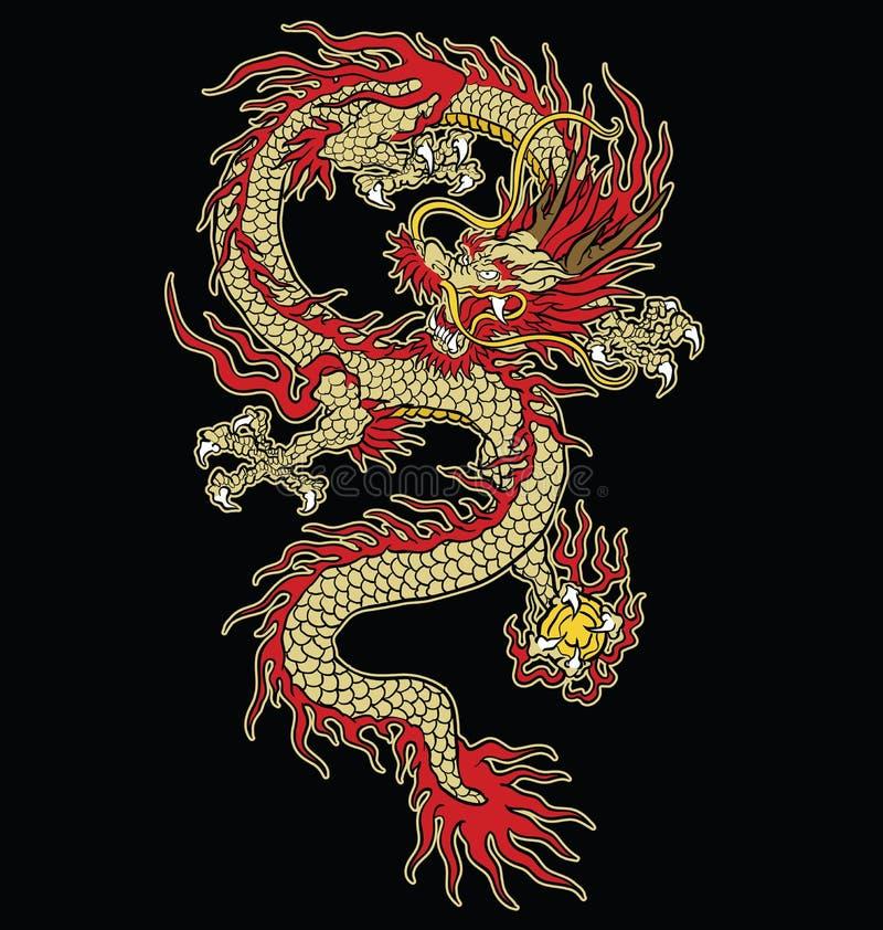Азиатский дизайн вектора дракона татуировки в цвете стоковые изображения