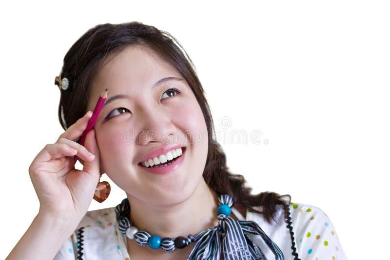 Азиатский думать женщины стоковые фото