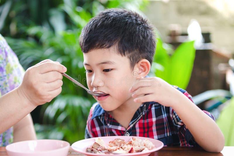 Азиатский мальчик есть с едой риса стоковые изображения rf