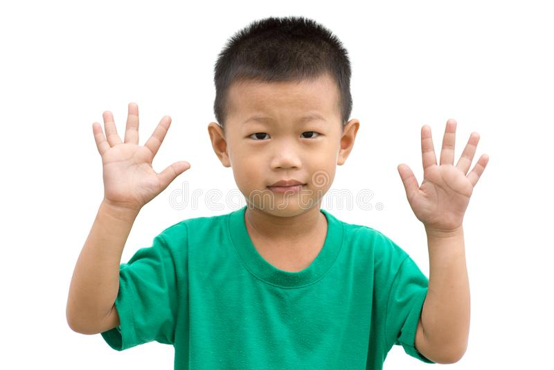 Азиатский показ 10 ребенка стоковые фото