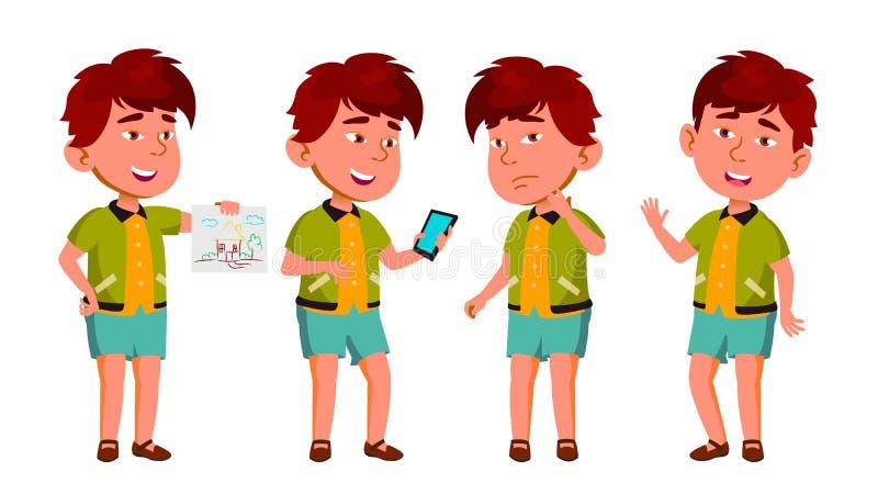 Азиатский ребенк детского сада мальчика представляет установленный вектор Счастливый характер красивых детей Для рекламы, буклет, бесплатная иллюстрация