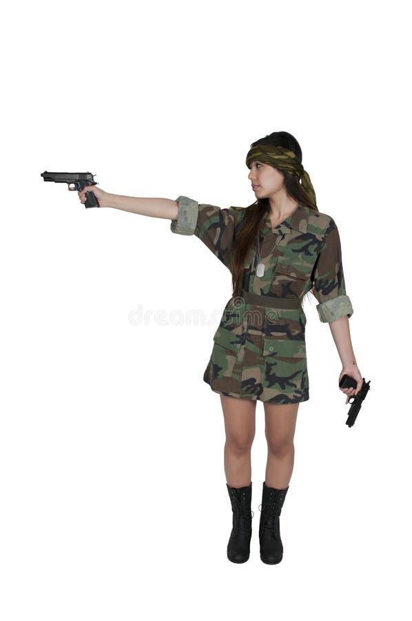 Азиатский солдат женщины стоковое фото