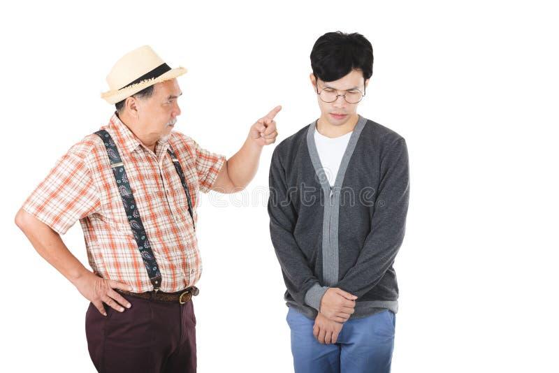 Азиатский старший человек сердитый стоковая фотография rf