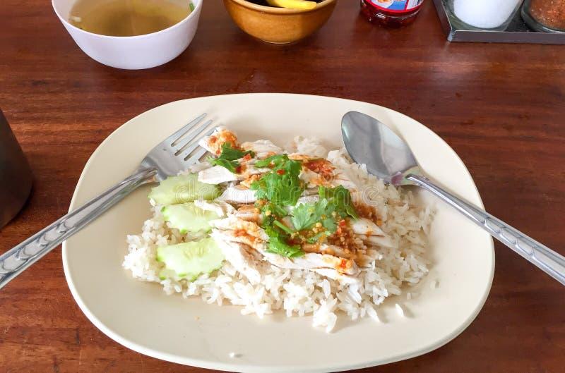 азиатский тип риса hainan крупного плана цыпленка стоковая фотография rf