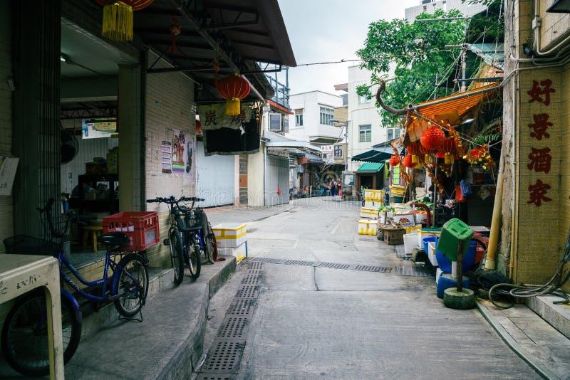 Азиатский традиционный рынок в рыбацком поселке Tai o, Гонконге стоковое изображение rf