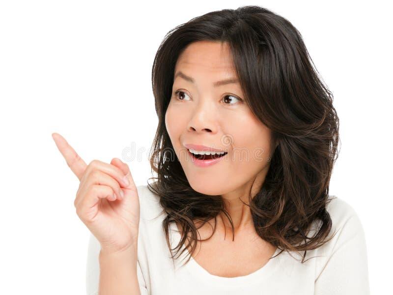 Азиатский удивленный показ женщины стоковые изображения