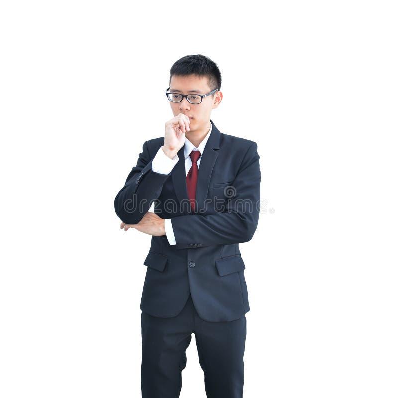 Азиатский думать бизнесмена изолированный на белой предпосылке, clippi стоковые изображения rf