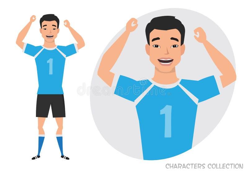 Азиатский характер футбола ball player soccer Эмоция утехи и веселья на стороне человека иллюстрация вектора