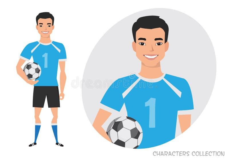 Азиатский характер футбола ball player soccer иллюстрация штока