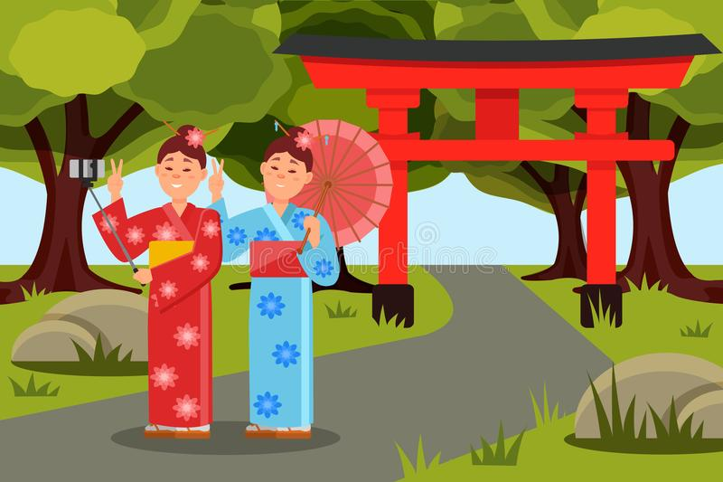 2 азиатских женщины делая selfie перед стробом Torii японца Маленькие девочки в кимоно Плоский ландшафт вектора с зеленым цветом иллюстрация вектора