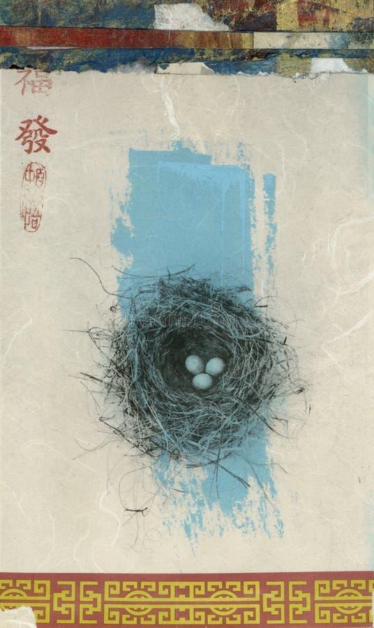 азиатское гнездй птицы иллюстрация штока