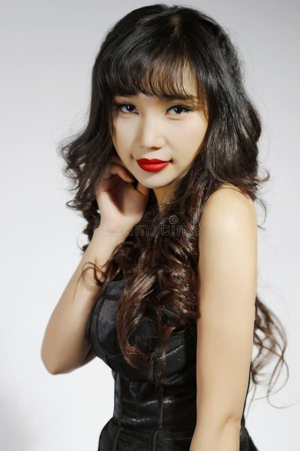 Азиатское симпатичное длинное ‰ ¼ modellingï ˆMakeup ¼ beautyï волос стоковая фотография rf