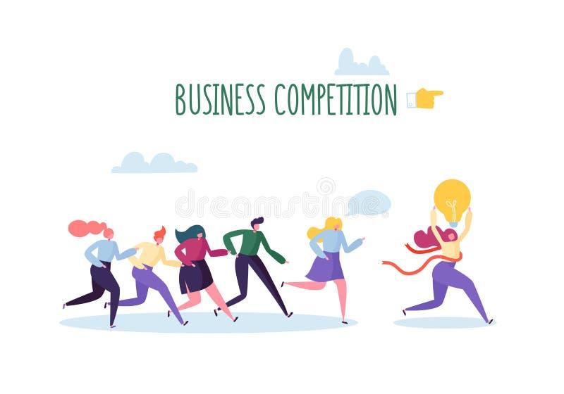 азиат за молотком принципиальной схемы конкуренции бизнесмена дела bowing держа 2 Плоские характеры людей бежать с финишной черто иллюстрация штока