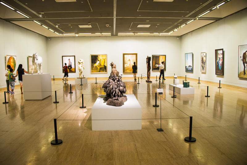 Азия Китай, Пекин, музей изобразительных искусств Китая, скульптура, художественная выставка стоковые изображения