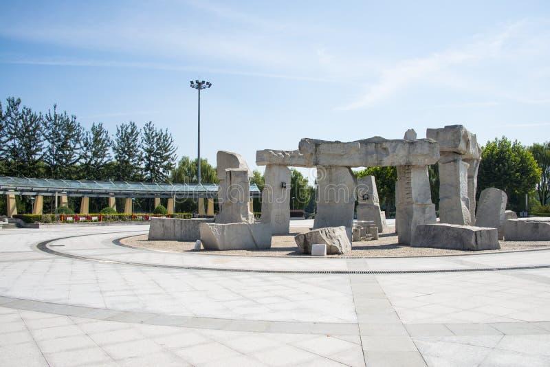 Азия Китай, Пекин, парк Jianhe, квадрат, stonesculptural стоковое изображение rf