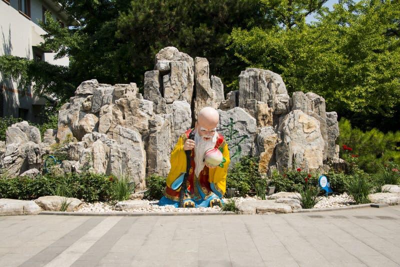 Азия Китай, Пекин, парк Wanshou, ландшафт, rockery, старый бог долговечности стоковая фотография