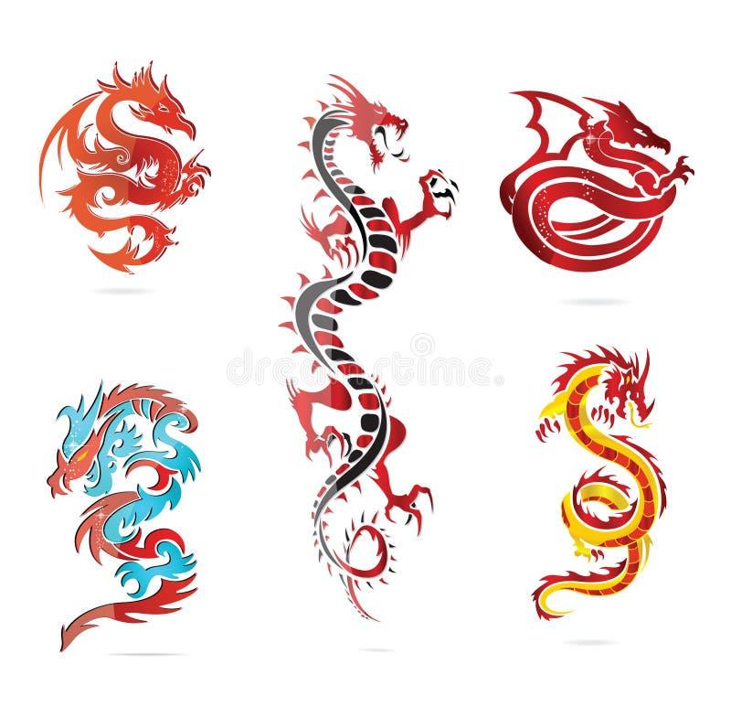 Азия покрасила знак комплекта дракона стеклянный горячий иллюстрация вектора