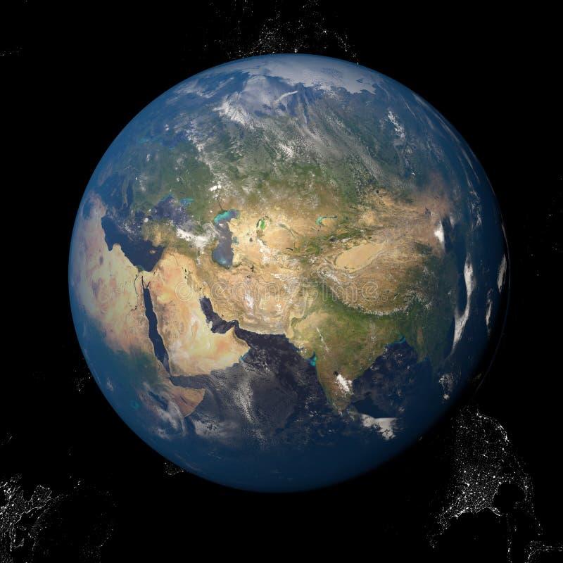 Азия увиденная от иллюстрации космоса 3d иллюстрация штока