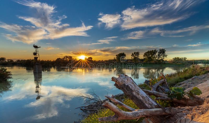Аисты захода солнца & река стоковая фотография rf