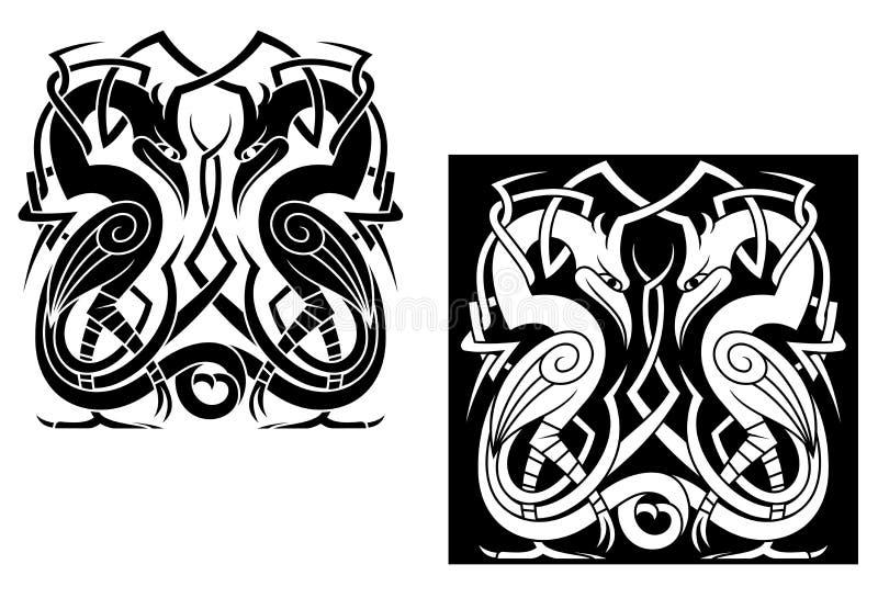 Аист в кельтском типе иллюстрация вектора