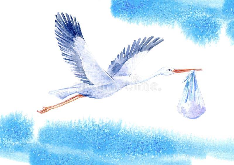 Аист с ребёнком и небом иллюстрация штока
