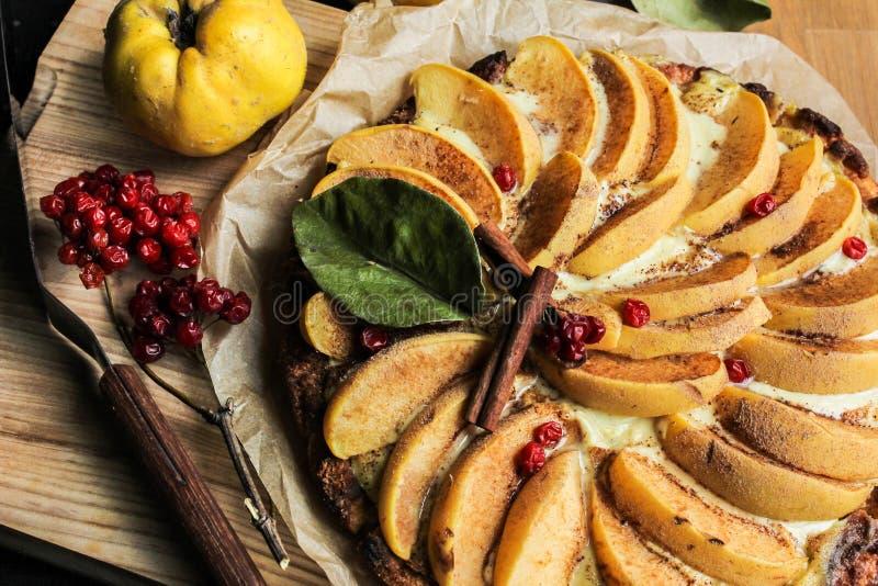 Айва флана с циннамоном и клюквами custard Печенье Shortcrust стоковые изображения rf