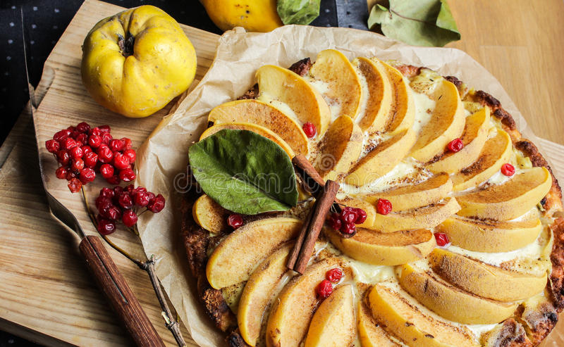 Айва флана с циннамоном и клюквами custard Печенье Shortcrust стоковое фото rf