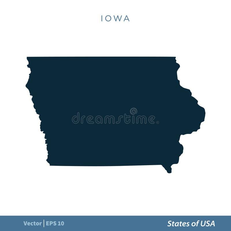 Айова - государства дизайна иллюстрации шаблона вектора значка карты США r бесплатная иллюстрация