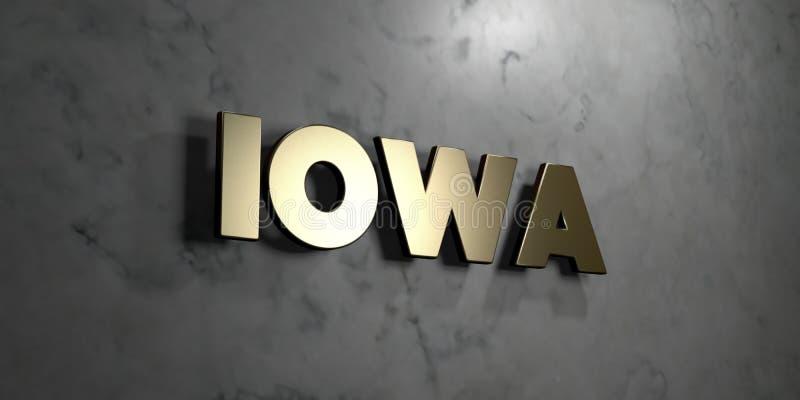 Айова - знак золота установленный на лоснистой мраморной стене - 3D представила иллюстрацию неизрасходованного запаса королевской бесплатная иллюстрация