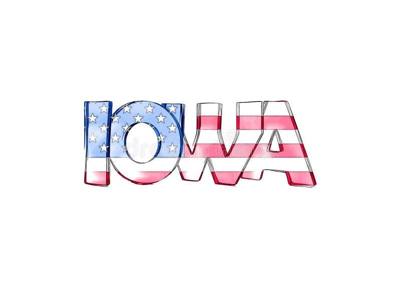 Айова Изолированные США заявляют имена бесплатная иллюстрация