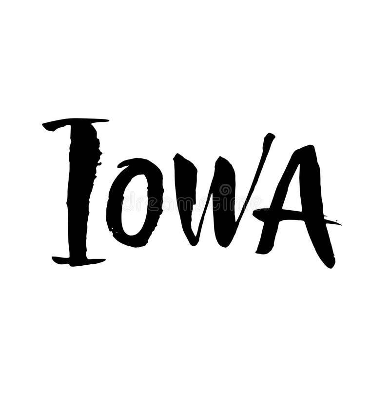 Айова Имя штата США руки вычерченное изолированное на белой предпосылке Современная каллиграфия щетки для вас дизайн Вектор помеч иллюстрация штока