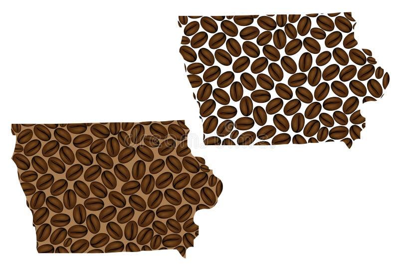 Айова - карта кофейного зерна иллюстрация штока