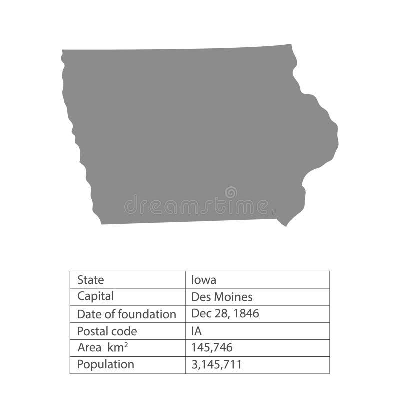 Айова Положения территории Америки на белой предпосылке Отдельное государство также вектор иллюстрации притяжки corel иллюстрация штока
