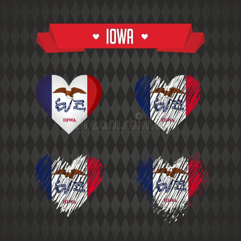 Айова с влюбленностью Разбитый сердце вектора дизайна с флагом внутрь бесплатная иллюстрация