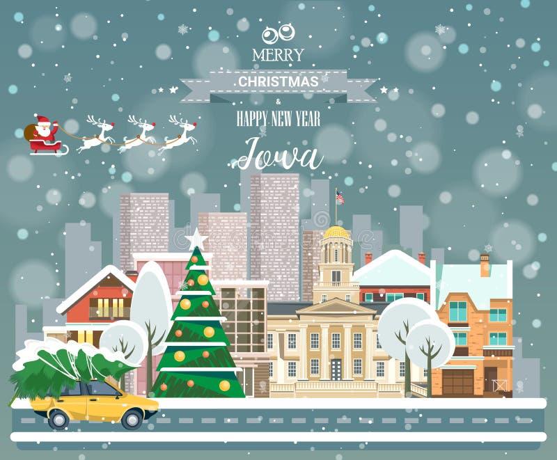 Айова, с Рождеством Христовым и счастливый Новый Год! иллюстрация штока