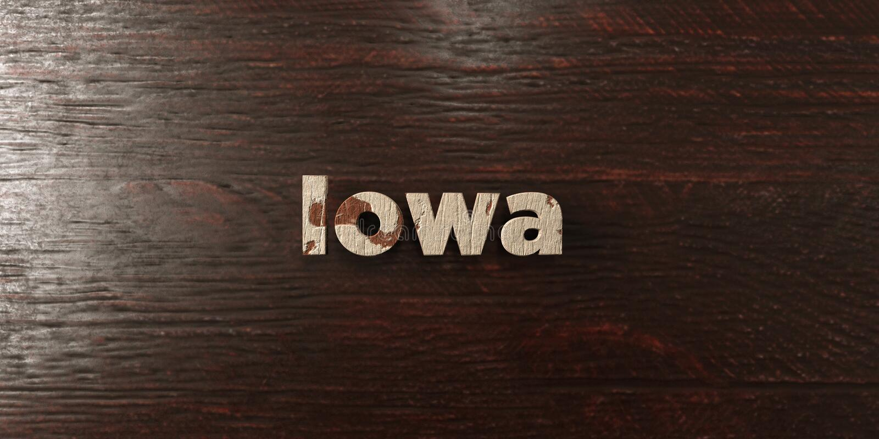 Айова - grungy деревянный заголовок на клене - представленное 3D изображение неизрасходованного запаса королевской власти бесплатная иллюстрация
