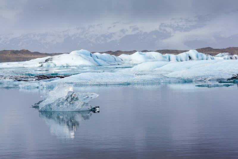 Айсберги в лагуне ледника Jokulsarlon, Исландии стоковая фотография