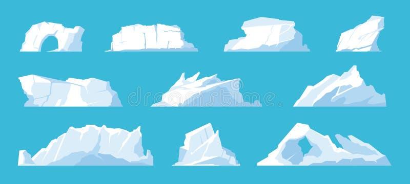 Айсбергс Арктика и северный полюс, таяние ледниковых гор и ледников, снежные шапки и замораживание океана иллюстрация вектора