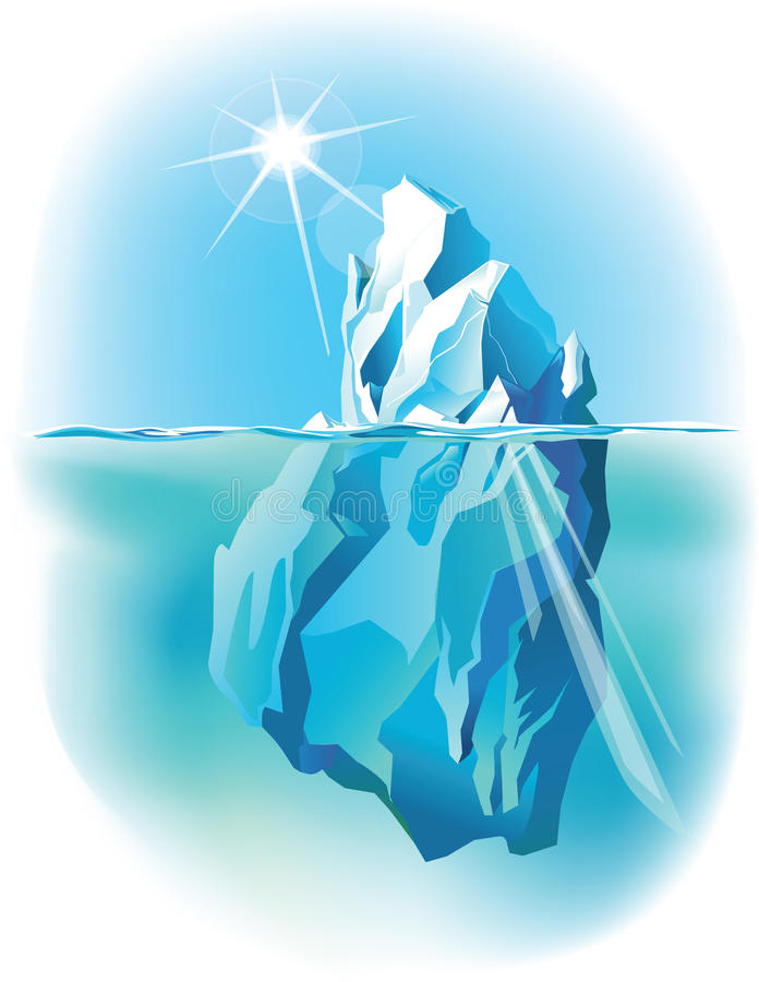 Айсберг под водой и надводное стоковые фотографии rf