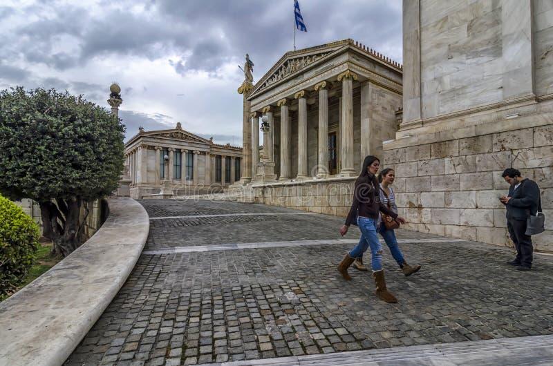 Академия Афин в центре  города стоковая фотография