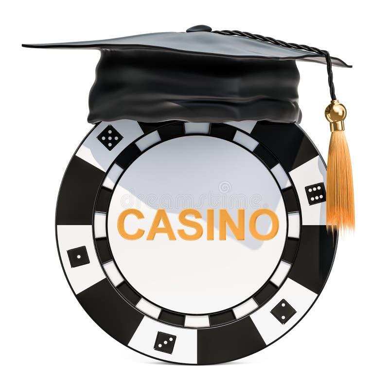 Академия игры, концепция школы казино Знак внимания казино с graduat иллюстрация вектора