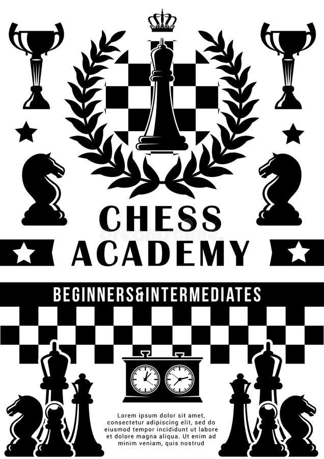 Академия шахмат, вектор игры спорта иллюстрация вектора