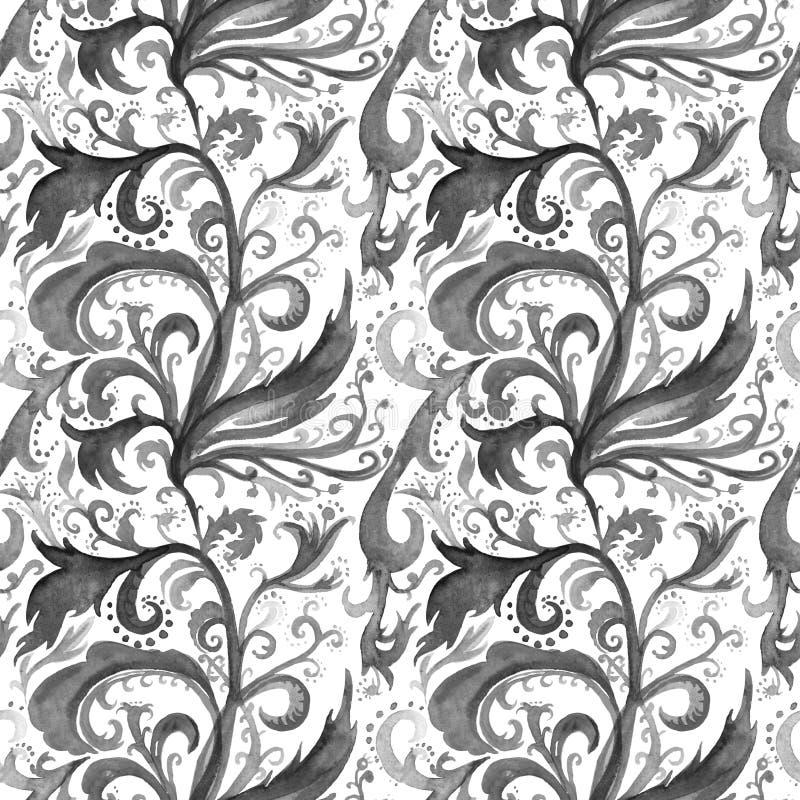 Акварели конспекта руки картина вычерченной безшовная с черно-белым флористическим орнаментом, скручиваемостями, волнистыми линия иллюстрация вектора