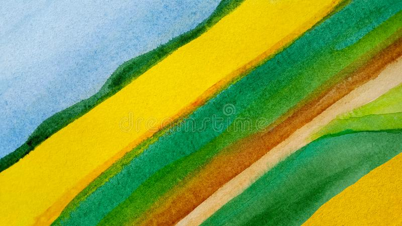 Акварели ландшафта предпосылки конспекта нашивки сельской раскосной вычерченные ленты в голубом, желтом, зеленом и коричневом иллюстрация вектора