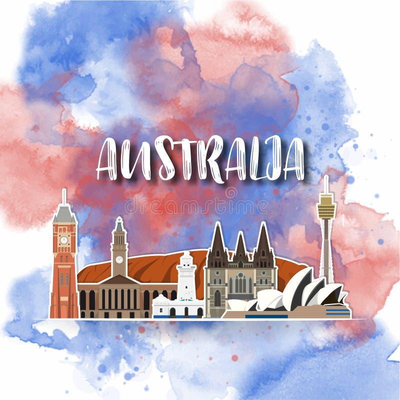 Акварели перемещения и путешествия ориентира Австралии предпосылка глобальной r использованный для вашей рекламы, книга, иллюстрация вектора