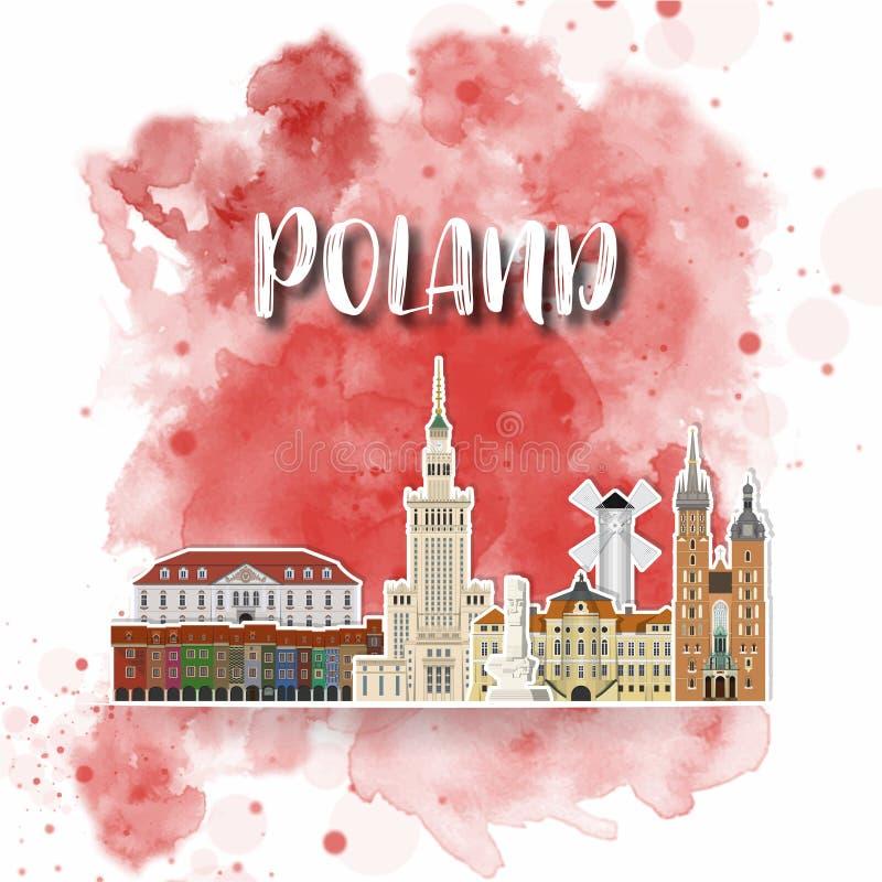 Акварели перемещения и путешествия ориентира Польши предпосылка глобальной r использованный для вашей рекламы, книга, знамя иллюстрация вектора