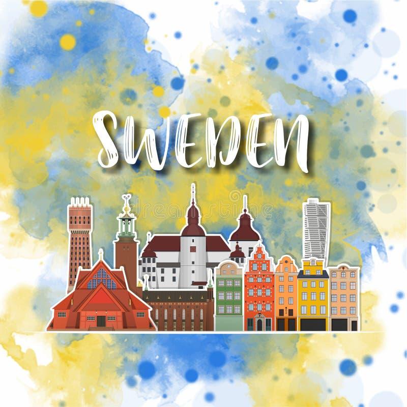 Акварели перемещения и путешествия ориентира Швеции предпосылка глобальной r использованный для вашей рекламы, книга, знамя бесплатная иллюстрация