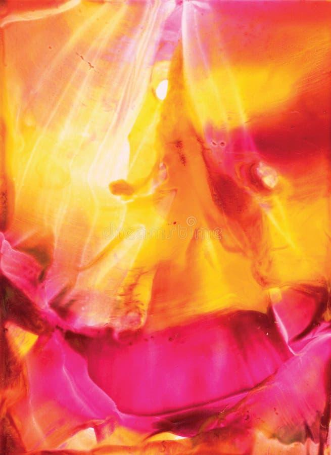 Акварели смотрят абстракцию воска encaustic с приходя ярким человеком - мессия или ангел в середине Красные и желтые тоны стоковые изображения rf