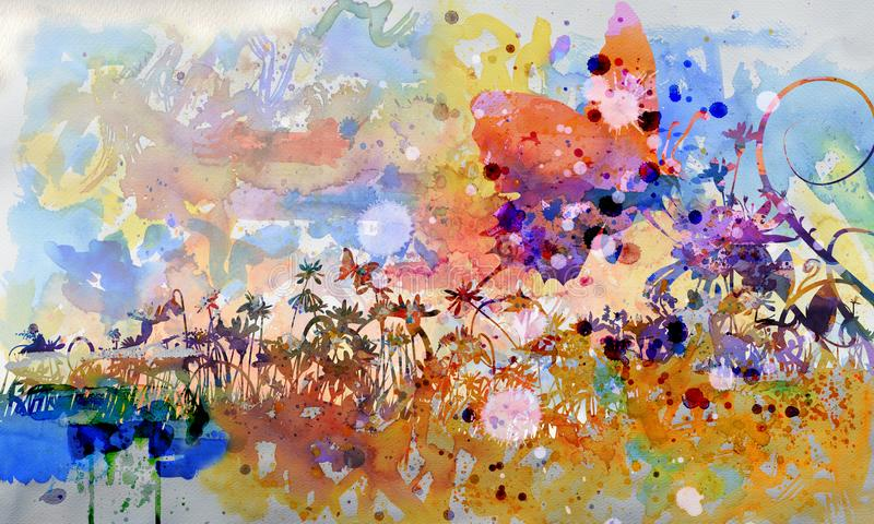 Акварель бабочка на цветении в саде иллюстрация штока