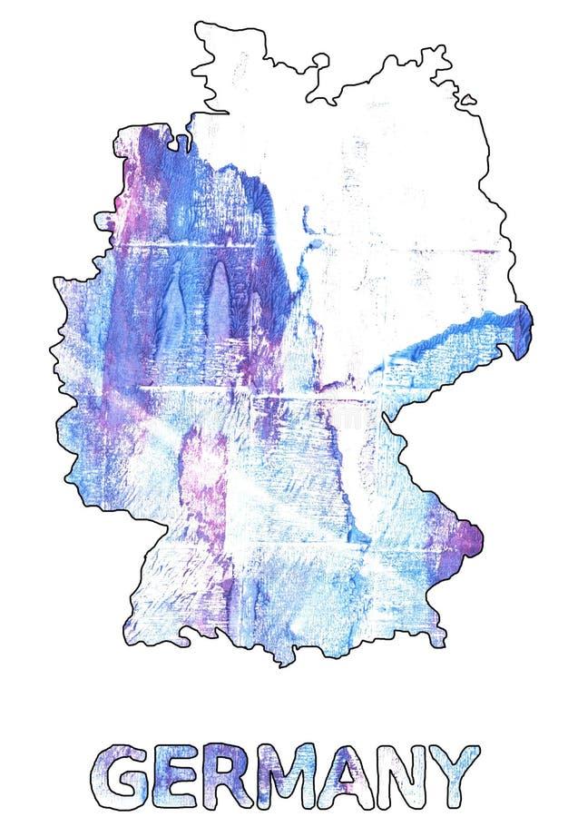 Акварель белизны Azureish плана карты Германии иллюстрация вектора